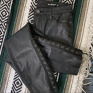 BLANK NYC Black Vegan Leather Lace Up Ankle Jean